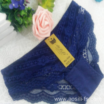 China OEM wholesale new style blue sexy comfortable lace cotton fancy panty 556