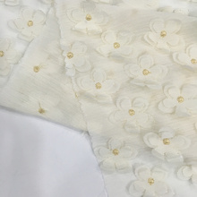Factory source manufacturing for Silk Chiffon Embroidery Fabric 3D Flower  Embroidery On Chiffon Ground supply to Saudi Arabia Factory