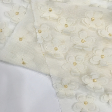 3D Chiffon Laser Cut Flower Embroidery Fabric