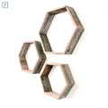 Home Deco Wood Rustic Hexagon Set of 3 Wall Hanging Shelves