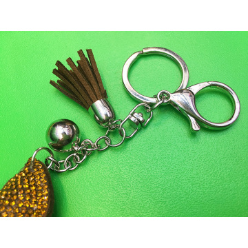 Brown Poop Emoji Keyring Leather Diamond Tassel Keychain