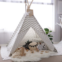 Gray Chevron Heavy Cotton Canvas Teepee for Kids