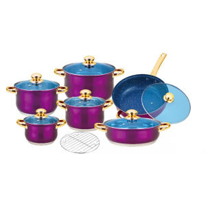 Hot Sale for Ceramic Coated Cookware Cookware Set with Purple Painted Finish supply to India Factory