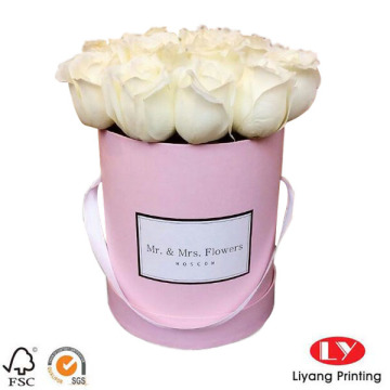 Pink Luxury Flower Gift Boxes Round with Handle