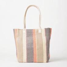 Contrast color woven and striped handbag shoulder bag