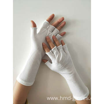 White Nylon Fingerless Long wristed Gloves