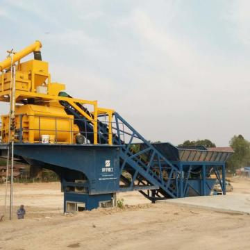 YHZS40 mobile concrete batching plant in Pakistan