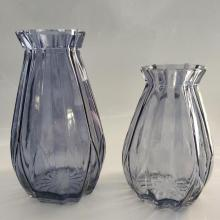 Dodecagonal Glass Vase Handmade Vase For decroation Set Of 3