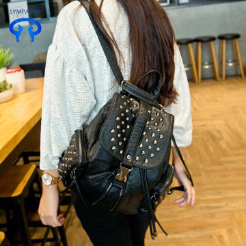 Fashionable rivet soft leather shoulder backpack women