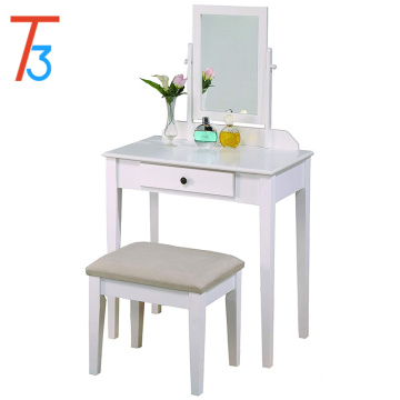Makeup vanity table/stool set white finish with beige seat