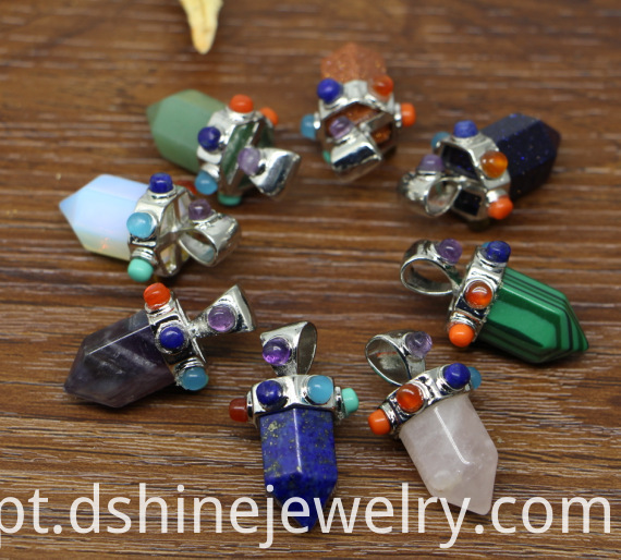 Natural Hexagonal Stone Pendant Multi Colors