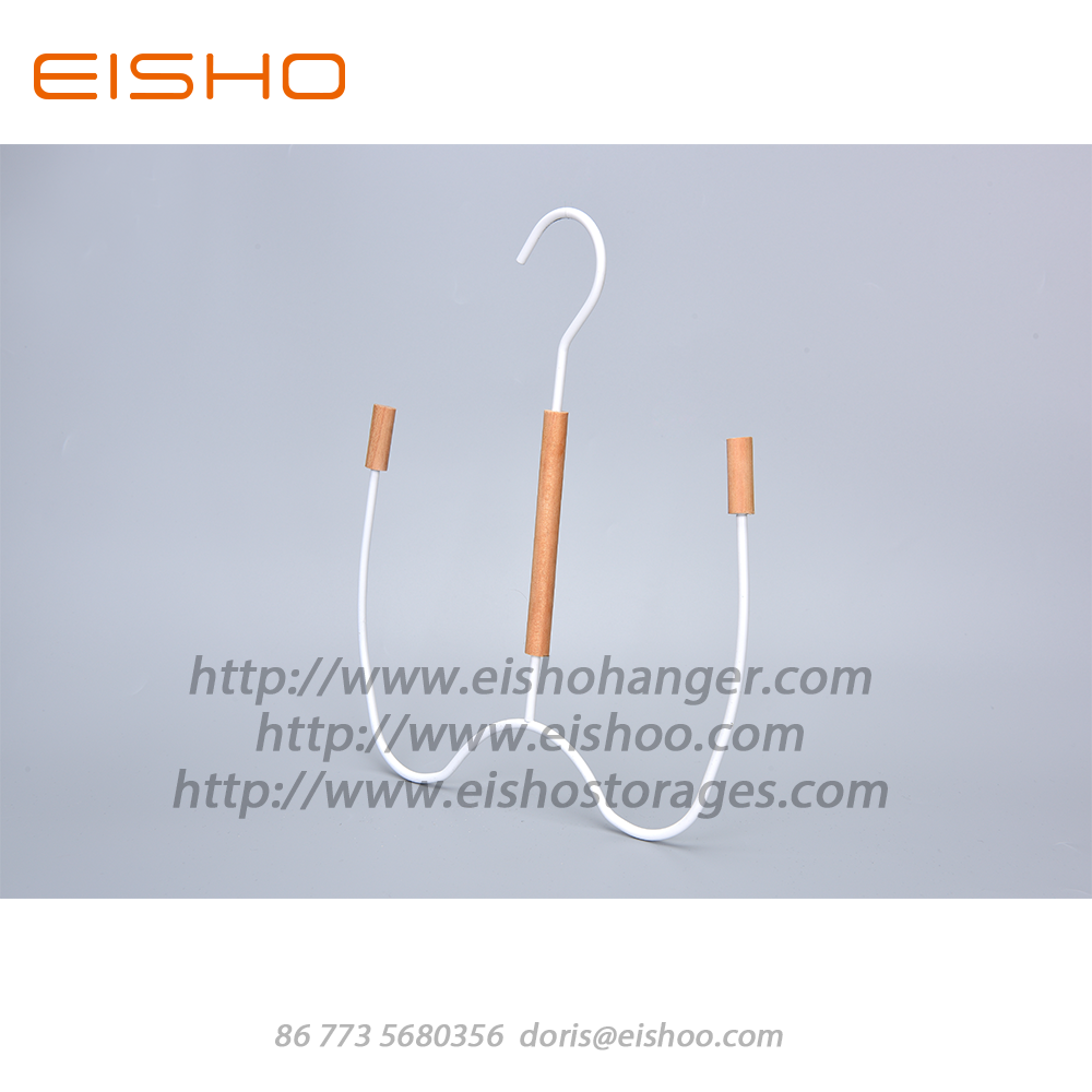 EISHO White Wood Metal Scarf Belt Hanger Hooks