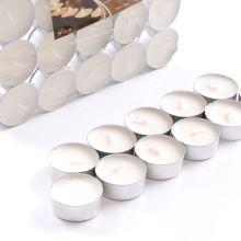 14g White Church Tealight Candle with Aluminum Holder