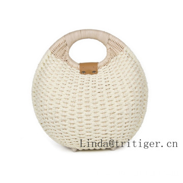 Hot Sale Simple Balloon Style Straw Wicker Rattan Handmade Bag