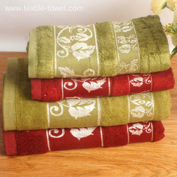 Solid Color Bamboo Bath Towels With Jacquard Border