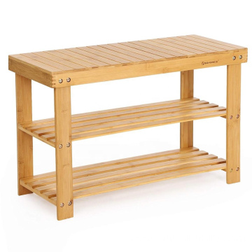 Home sturdy shoe rack 3 layers bamboo storage rack
