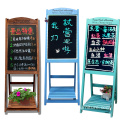Shop decoration classic wooden flower shelf with blackboard