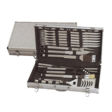 24pcs stainless steel BBQ set in aluminum box