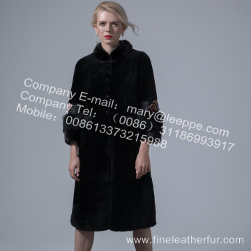 Ladies Winter Long Merino Shearling Overcoat