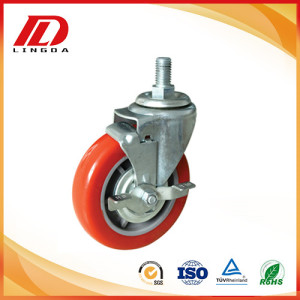 5 inch pu thread stem caster wheels