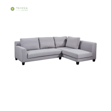 Light Grey Fabric Woon Legs Corner Sofa