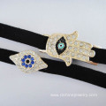 Black Velvet Slide Charm Hamsa Lucky Eye Bangle Bracelet