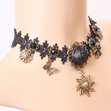 Vintage Lace Black Sun Rose Pendant Necklace