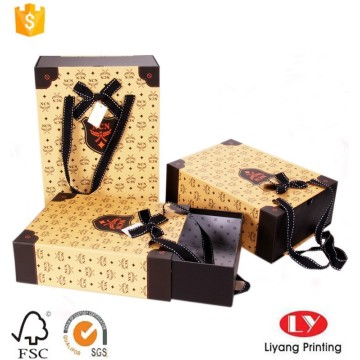 Drawer box gift packaging with ribbon handle