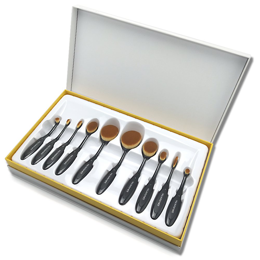 10pc toothbrush shape oval brush set with box