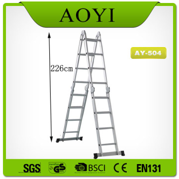 4.7m 1.5&1.3mm thickness aluminum pipe folding ladder