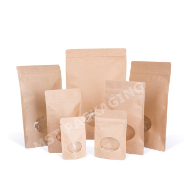 Food Grade Kraft Paper Biodegradable Bag with Window