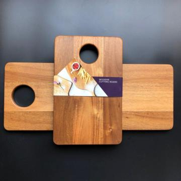 Rectangle wood chopping board with big portable hole
