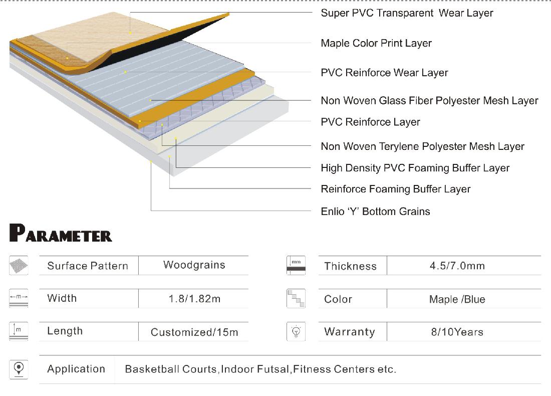 Multi Purpose Indoor Vinyl Sports Flooring China Manufacturer
