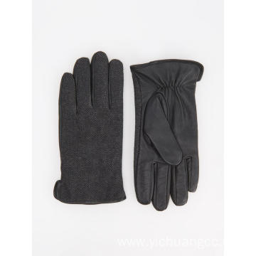 Grid fabric high fashion brand genuine leather glove