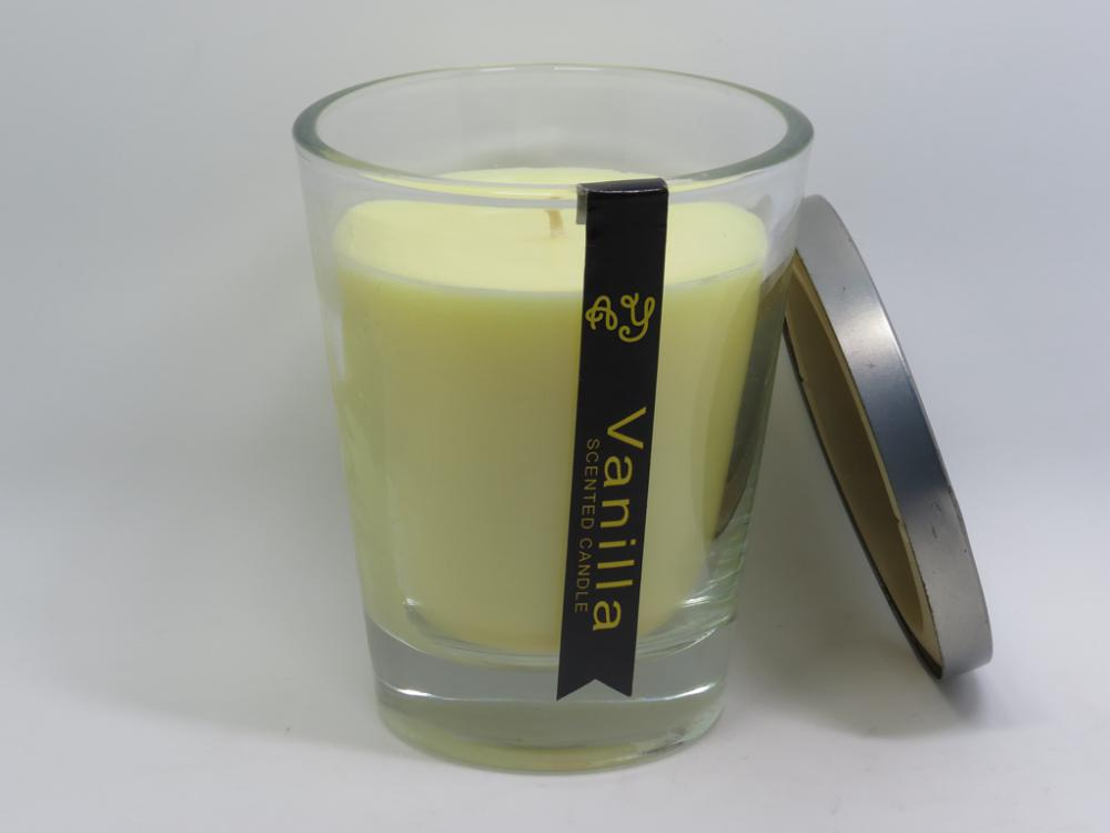 Fragrance decoration light glass candle with lid