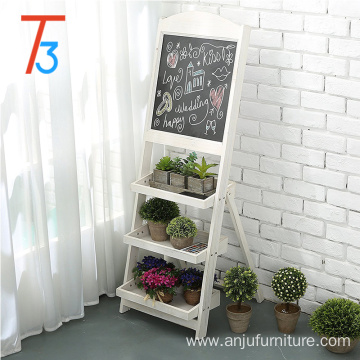 flower rack chalkboard easel with 3 display shelves