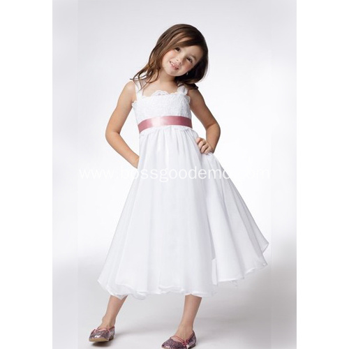 A-line Wide Straps Tea-length Taffeta Lace Ribbons Flower Girl Dress