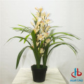 Artificial White Moth Orchid Potted Plant