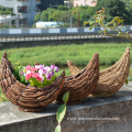 Weaving Rattan New Moon Flower Pot