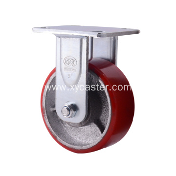 5 Inch Fixed Red PU  Caster