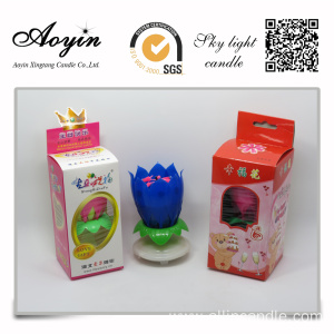 Bulk lotus birthday candle with flaming flower