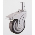 Thermoplastic Rubber( TPR) Locking Caster Wheels: Heavy Duty Plate Medical Caster