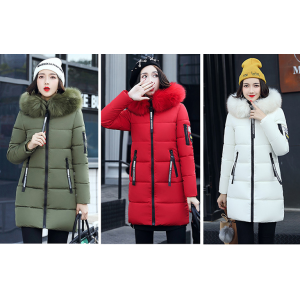 China for Winter Light Down Touch Jacket Hood Parka Overcoat Long Jacket supply to South Korea Supplier