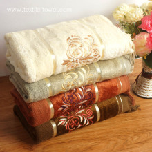 Tassels Embroidery Bamboo Bath Towel Decorative Bath Towel