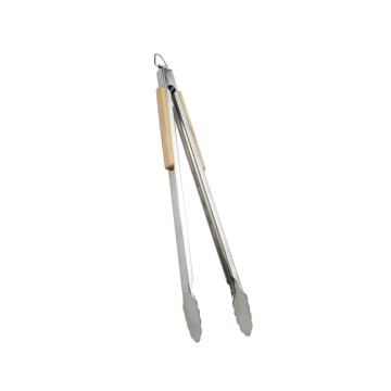 20 Inch Extra-long Wooden Handle BBQ Tongs
