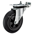 6 Inch Plate Swivel Black Rubber PP Core With Directional Lock Bracket Dustbin Wheel