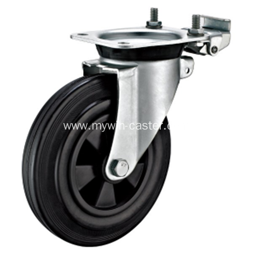 8 Inch Plate Swivel Black Rubber PP Core With Directional Lock Bracket Dustbin Wheel