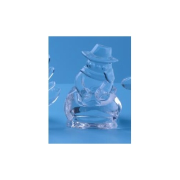 Glass Snow Man Tealight Candle Holder