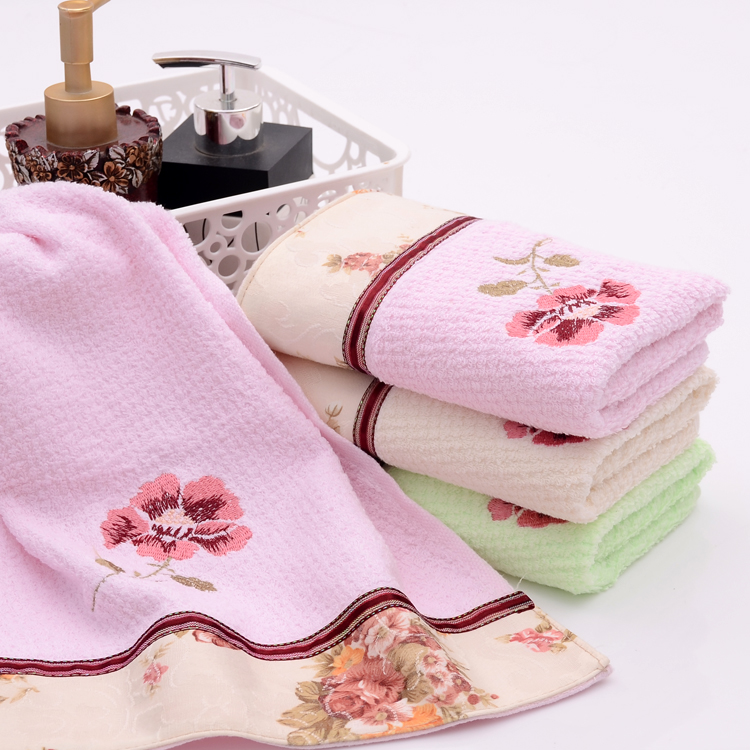 Floral Towels with Beautiful Applique