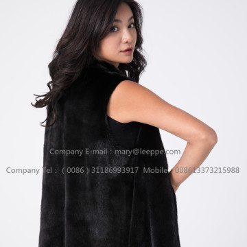 Women Black Fashionable Lady Mink Vest